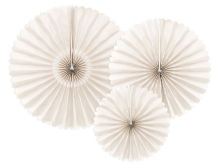 Ivory Hanging Pinwheel Fan Decorations